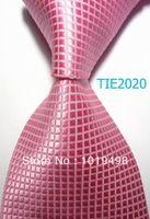 silk tie free shipping 8.5cm Tie for men dress shirts Wedding Pink Checked plaid JACQUARD WOVEN Men's Tie Necktie
