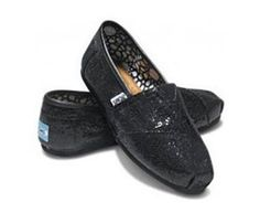 Black Cheap TOMS Glitters Shoes For Women Sale