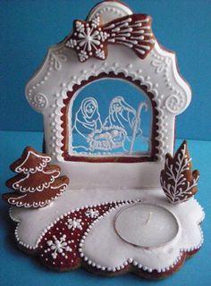 white nativity silhouette on clear sugar window. Christmas Biscuits, Christmas Sugar Cookies, Christmas Desserts, Christmas Treats, Christmas Baking, Galletas Cookies, Cupcake Cookies, Gingerbread Decorations, Gingerbread Cookies