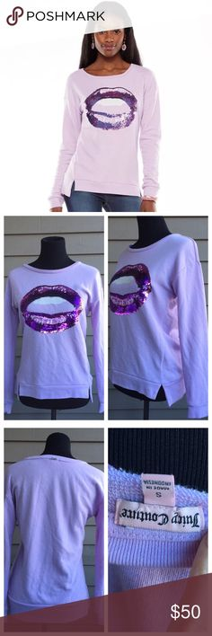 Juicy Couture Sequined 'Lips' Purple Sweater Super cute sweater from Juicy! Add this item to your Fall wardrobe to give it a little sass 😉 No defects, in excellent condition. Bundle to save 20% on you're order! Juicy Couture Sweaters