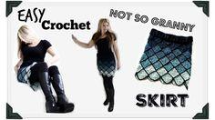 Easy Crochet Ombre Granny pencil  Skirt