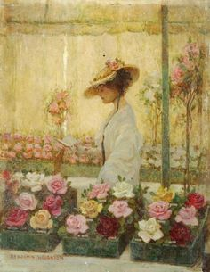 Woman in a Conservatory with Roses painting by Benjamin Haughton.