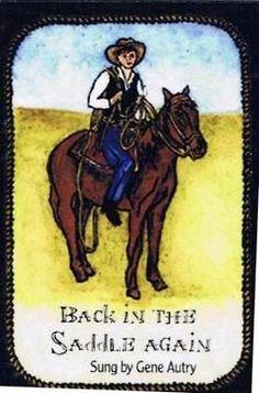 "Country Music Cowboy Western Saddle "" Back in the Saddle "" New! Fridge Magnet"