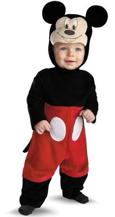 Baby Costumes - This infant Mickey Mouse Costume includes the jumpsuit with snaps, soft character headpiece and the detachable tail. Everybody is sure to love this adorable Mickey costume! This is an officially licensed Disney Costume. Disfraz Minnie Mouse, Mickey Mouse Halloween Costume, Halloween Bebes, Infant Halloween, Halloween Birthday, Couple Halloween, Birthday Ideas, Birthday Parties, Fancy Costumes