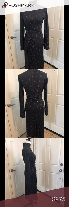 Samantha Sung jersey knit dress This gorgeous and fitted Samantha Sung grey and burgundy dress with waist detail and roughed sleeves. Samantha Sung Dresses Maxi