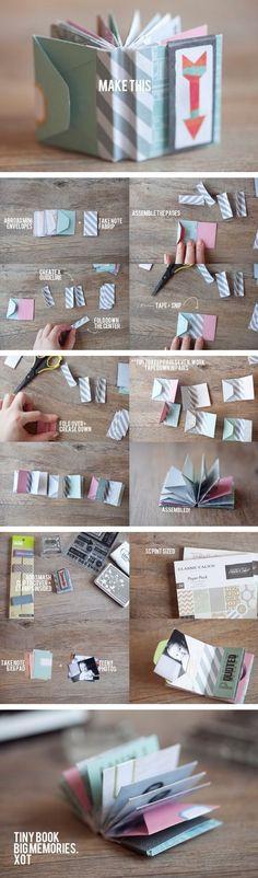 The best DIY projects & DIY ideas and tutorials: sewing, paper craft, DIY. Diy Crafts Ideas Ideas para crear un mini libro que cuente su historia de amor -Read Diy Paper, Paper Crafts, Fun Crafts, Diy And Crafts, Book Crafts, Envelope Book, Origami Envelope, Diy Envelope, Ideias Diy