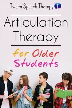 Articulation therapy for older students. Ideas for middle school and high school students in speech therapy. Articulation Therapy, Articulation Activities, Speech Activities, Speech Therapy Activities, Speech Language Pathology, Language Activities, Speech And Language, Physical Activities, Play Therapy Techniques