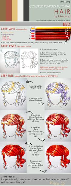Colored pencils tutorial HAIR part 2 by kiko-burza on deviantART