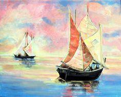 Art Original Painting, Acrylic, 16x20, Chinese Junk, Sunrise, Impressionism, Water, Sailboats, Home Decor