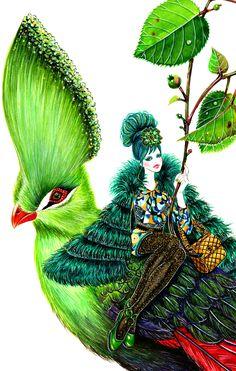 Anna Sui Fall 2013 RTW-illustration by Sunny Gu #fashion #illustration #fashionillustration