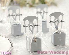 In miniatura argento sedia bomboniera w/cuore fascino& nastro BETER-TH002/A