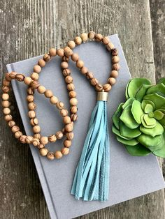 Long Beaded Necklace Olive Wood Bead Necklace Leather Tassel
