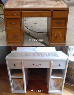 Old desk re-purposed into a changing table!  Pin found by Freebies-For-Baby.com