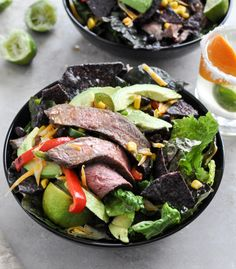 tequila lime flank steak fajita salad with while lime vinaigrette