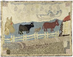 Hooked rug of cows in a pasture, 20th c., 29 1/ : Lot 317