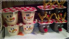 Snowman reindeer pudding cups for school Christmas parties or just for fun with the kids