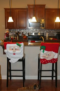 Christmas Decorating: Part 2 Christmas Chair Covers, Christmas Cover, Christmas Design, Christmas Art, Christmas Ideas, Christmas Sewing Patterns, Christmas Table Decorations, Christmas Embroidery, Holiday Crafts