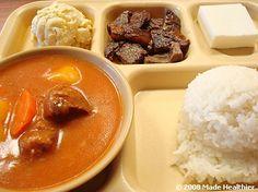 Beef Stew combo with pipikaula, mac salad, rice, and haupia. From Highway Inn - Waipahu, Hawaii.