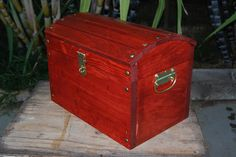 Walnut  Wooden Wedding Treasure Chest Card Box by BerrysCreations, $54.99