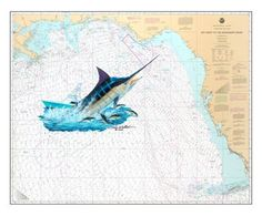 Steve Whitlock Nautical Chart Art - Gulf Marlin