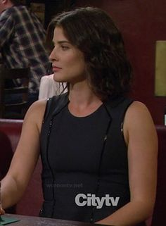 Robin's black dress with leather piping on How I Met Your Mother.  Outfit details: http://wornontv.net/12462/