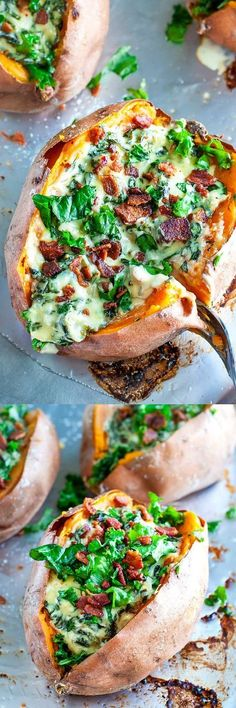 These easy Cheesy Kale Stuffed Sweet Potatoes are a tasty way to pile on the veggies! Minus the cheese 😋