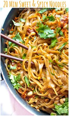 20 Minute Sweet and Spicy Noodles. 20 Minute Sweet and Spicy Noodles @ Served From Scratch. These Sweet and Spicy Noodles are a Thai inspired fast, easy weeknight dinner that can be ready and on the table in just 20 minutes! Easy Weeknight Dinners, Easy Meals, Cooking Recipes, Healthy Recipes, Spicy Recipes, Potato Recipes, Beef Recipes, Catering Recipes, Lasagna Recipes