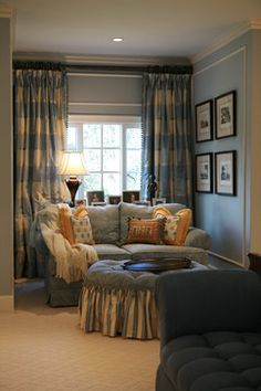 Sumptuous Drapery Fabric fashion Los Angeles Traditional Bedroom Decoration ideas with blue walls carpet texture ceiling lighting chenille sofa crown molding curtains decorative pillows drapes Traditional Family Rooms, Home, Bedroom Corner, Traditional Bedroom, Bedroom With Sitting Area, Family Room, Furniture, Cozy Corner, Small Bedroom