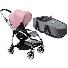 Bugaboo Bee3 Stroller With Bassinet - Aluminum/Grey Melange/Soft Pink
