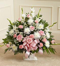 Tribute Pink & White Floor Basket Arrangement