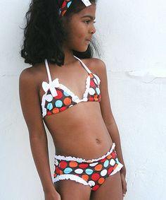 Another great find on #zulily! Brown & Blue Spot-On Ruffle Bikini - Toddler & Girls #zulilyfinds