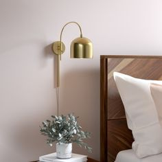 Mary 1 - Light Dimmable Plug-In Armed Sconce Finish: Black Bedside Wall Lights, Plug In Wall Lights, Plug In Wall Sconce, Bedside Lighting, Wall Sconce Lighting, Cool Lighting, Bedroom Wall Lights, Wall Lamps, Bedroom Lighting