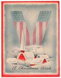 Vintage Greeting Card Christmas Patriotic WWII Victory Stars Stripes L473 | eBay