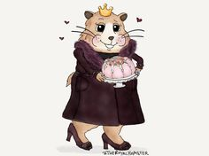 The Royal Hamster is wearing a maroon coat with a matching belt and leather details at the cuffs. He has a lush faux fur collar in shades of maroon and burgundy. He has on matching shoes with tassels and chunky heels. He's holding a pink fruit cake on a cake plate. He looks excited.