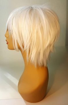 platinblonde haare kurz, Short Platinum Blonde Wig Short White Wig with Shaggy Textured Layers Short Platinum Wig wi. Platinum Wigs, Platinum Blonde Hair, Blonde Wig, Blonde Balayage, Blonde Brunette, Blonde Pixie Hair, Platinum Pixie, Popular Short Hairstyles, Layered Bob Hairstyles