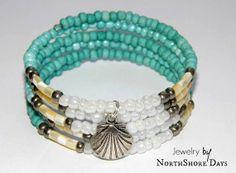Sandy Beach  A Memory Wire Bracelet by NorthShoreDays on Etsy, $15.00
