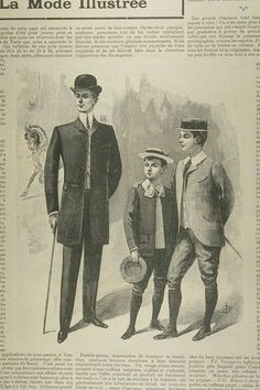 Business man with two young boys in slacks, coats, and hats common to 1920's fashion.