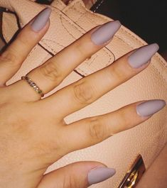 Grey coffin matte acrylic nails