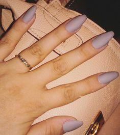 Grey coffin matte acrylic nails