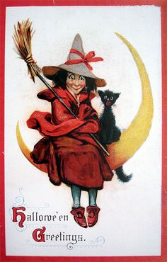 ☆ Halloween Witch Sitting on Moon with Cat :¦: Shop: Traditions Year-Round Holiday Store ☆