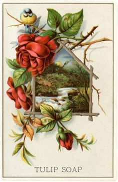 Lovely Vintage Landscape with Roses! - The Graphics Fairy