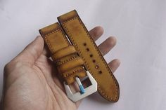 Yellow Mustard Vintage Leather Watch Strap Handmade for your