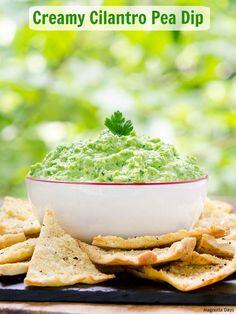 Creamy Cilantro Pea Dip made with sweet green peas, fresh cilantro ...