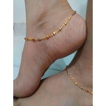 New Designer Gold Plated Square Shap Anklet