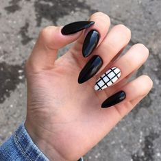 awesome acrylic coffin nails designs in summer 10 ~ thereds.me awesome acrylic coffin nails designs in summer 10 ~ thereds. Grunge Nails, Edgy Nails, Stylish Nails, Summer Acrylic Nails, Best Acrylic Nails, Nail Summer, Black Nail Designs, Acrylic Nail Designs, Almond Nails Designs
