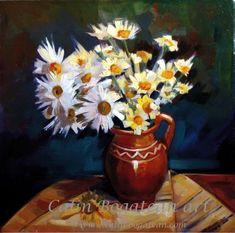 Margarete albe și galbene în cană de lut natură statică pictură florală în ulei pe pânză lucrare de artă originală natură moartă tablou cu flori flori pictate pictură flori Flori galbene în cană de lut țărăneaacă pictură pe pânză Mrgarete albe și galbene în ulcior de lut pictat pe pânză tablou cu Margarete albe și galbene în cană de lut Daisy, Paintings, Bike, Paint, Margarita Flower, Painting Art, Daisies, Painting, Painted Canvas