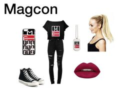 """Magcon"" by reanna-fisk ❤ liked on Polyvore featuring Yves Saint Laurent, Converse and Huda Beauty"