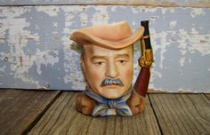 Lefton China Handpainted KW2191 Roosevelt Mug/Creamer/Pitcher Vintage Collectible Historical Presidental Memorabilia by SexyTrashVintage, $18.00