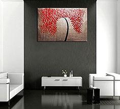 raybre art pintura al leo rboles cuadros abstractos modernos cuadros grandes azul negro y rojo