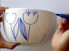 No bake Sharpie art bowls: a better finishing secret for DIY beautiful Anthropologie style designs on ceramic bowls or mugs. Sharpie Crafts, Sharpie Art, Sharpies, Diy Wood Wall, Diy Blanket Ladder, Bath Bomb Recipes, Diy Headboards, Dollar Stores, Diy And Crafts